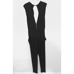 Tobi Black Plunging Zipper Jumpsuit with Pockets